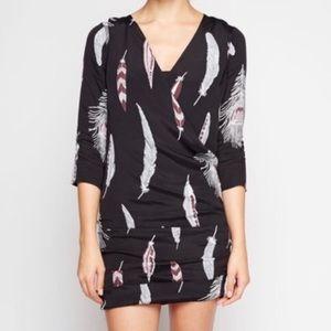 Anthropologie Line&Dot Feather Faux Wrap Dress